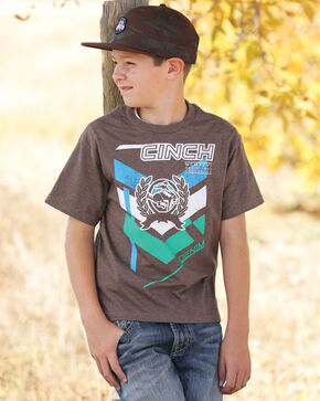 Cinch Boys' Brown Logo T-Shirt , Hthr Brown, hi-res