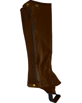 Ovation Women's Pro Top Grain Leather Half Chaps, Brown, hi-res