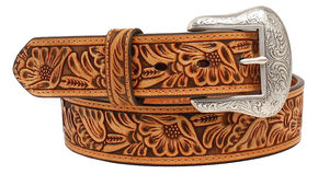 "Nocona 1 1/2"" Embossed Floral Belt, Tan, hi-res"