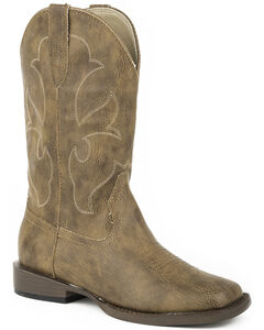 Roper Boys' Tan Tumbled Faux Leather Cowboy Boots - Square Toe , , hi-res