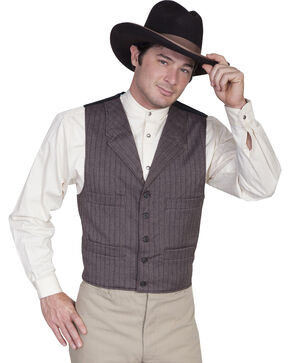 WahMaker Old West by Scully Four Pocket Striped Vest, Brown, hi-res