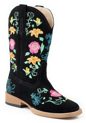 Roper Toddler Girls' Black Floral Embroidered Cowgirl Boots, Black, hi-res