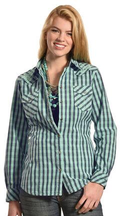 Ryan Michael Women's Embroidered Yoke Plaid Shirt, , hi-res