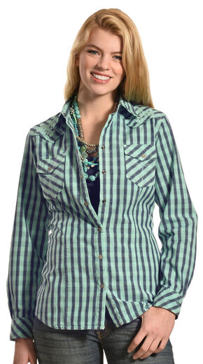 Ryan Michael Women's Embroidered Yoke Plaid Shirt, Aqua, hi-res