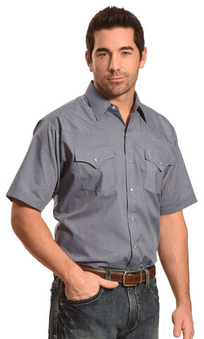Ely Cattleman Button Up Solid Short Sleeve Shirt - Big and Tall, Blue, hi-res