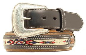 Nocona Leather Overlay Colorful Embroidered Belt, Med Brown, hi-res