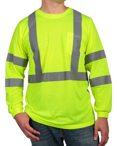 American Worker Men's Long Sleeve High Visibility T-Shirt - Big & Tall, , hi-res
