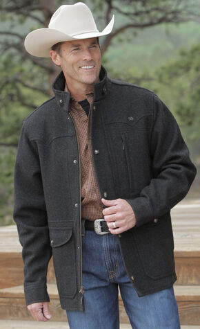 Miller Ranch Charcoal Melton Wool Riding Coat, Charcoal Grey, hi-res
