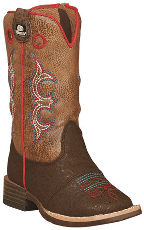 Double Barrel Toddler Boys' Kolter Zip Cowboy Boots - Square Toe , Brown, hi-res