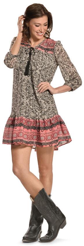 Pink Cattlelac Pink and Black Geo Print Dress, Print, hi-res