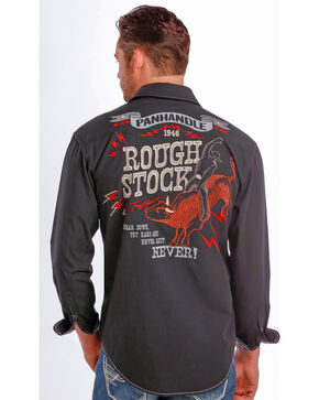 Rough Stock by Panhandle Slim Men's Vintage Bull Rider Logo Western Shirt , Black, hi-res