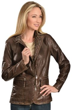 Scully Studded Trim Leather Jacket, , hi-res
