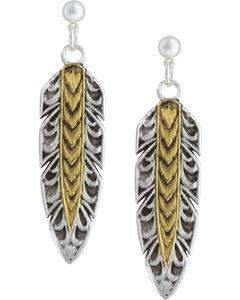 Montana Silversmiths Women's Heirloom Gold Hawk Feather Dangle Earrings, , hi-res