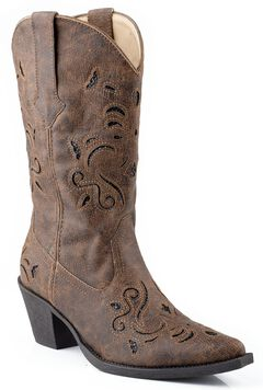Roper Vintage Faux Leather Glittery Inlay Cowgirl Boots - Snip Toe, , hi-res
