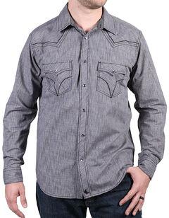 Cody James Men's Leadville Solid Western Long Sleeve Shirt, Grey, hi-res
