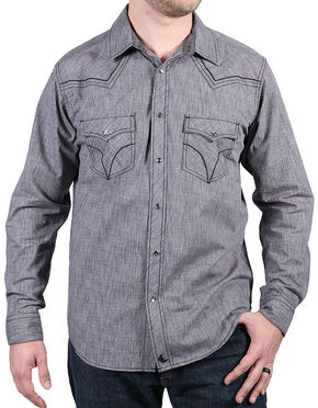 Cody James Men's Leadville Solid Western Long Sleeve Shirt, Grey, hi-res