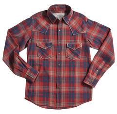 Ryan Michael Crimson Plaid Long Sleeve Shirt, Red, hi-res
