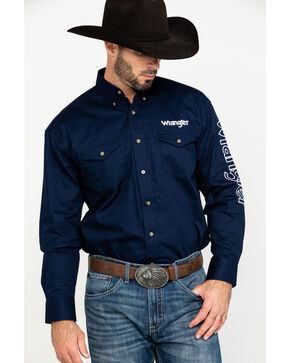 Wrangler Men's Navy Logo Western Shirt , Navy, hi-res