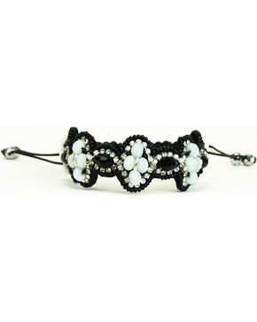 Pink Pewter Black/White Beaded Drawstring Bracelet, Blk/white, hi-res