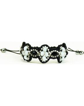 Pink Pewter Black/White Beaded Drawstring Bracelet, Blk/white, hi-res