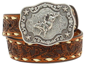 "Nocona Boys' 1 1/4"" Floral Embossed Lacing Belt, Tan, hi-res"