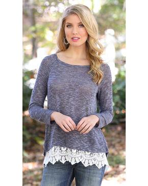 Wrangler Women's Lace Flyaway Sweater, Navy, hi-res