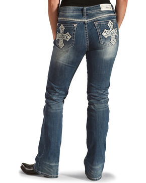 Grace in LA Women's Fleur De Lis Pocket Jeans - Boot Cut , Medium Blue, hi-res