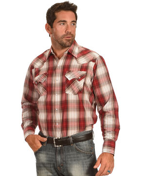 Ely Cattleman Men's Red Textured Plaid Sawtooth Pockets Snap Shirt, Red, hi-res