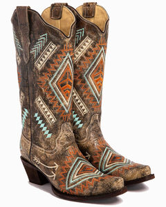Corral Diamond Embroidered Cowgirl Boots - Snip Toe, , hi-res