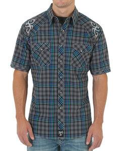 Rock 47 by Wrangler Men's Grey Plaid Snap Shirt, , hi-res