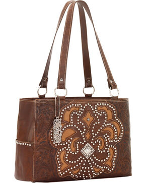 American West Women's Mayflower Leather 3-Compartment Handbag, Brown, hi-res