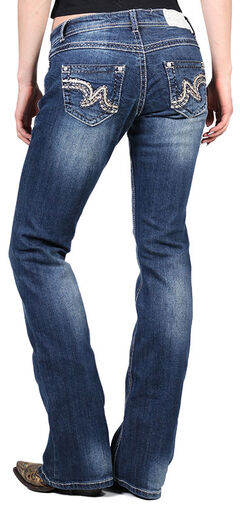 Shyanne Women's Faux Leather Embellished Boot Cut Jeans, , hi-res