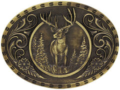 Montana Silversmiths Heritage Outdoor Series Wild Stag Carved Belt Buckle, Gold, hi-res