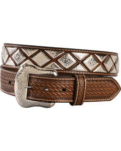 Nocona Men's Scalloped Diamond Concho Belt, , hi-res