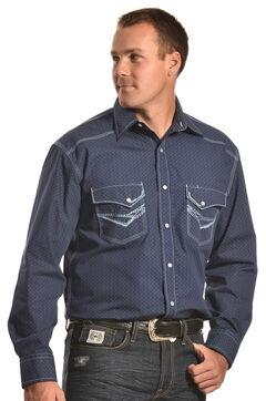 Crazy Cowboy Men's Blue Stitch Western Snap Shirt , , hi-res