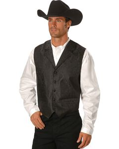 Rangewear by Scully Black Paisley Button Vest, , hi-res