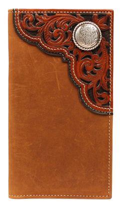 Nocona Tooled Overlay & Concho Rodeo Wallet, , hi-res