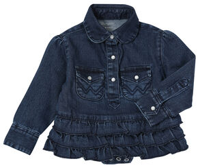 Wrangler Toddler Girls' Denim Bodysuit with Ruffle, Denim, hi-res