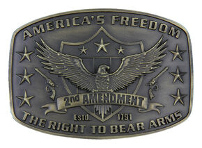 Montana Silversmiths Second Amendment Heritage Attitude Belt Buckle, Gold, hi-res