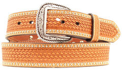 Ariat Basketweave & Smooth Leather Inlay Concho Studded Belt, , hi-res