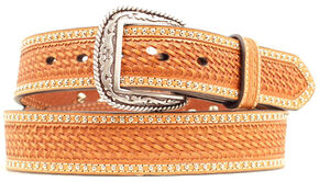 Ariat Basketweave & Smooth Leather Inlay Concho Studded Belt, Brown, hi-res