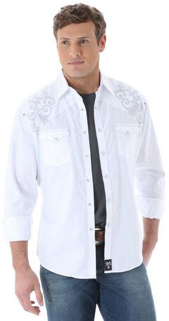 Wrangler Rock 47 Men's White Tonal Dobby Western Shirt, , hi-res
