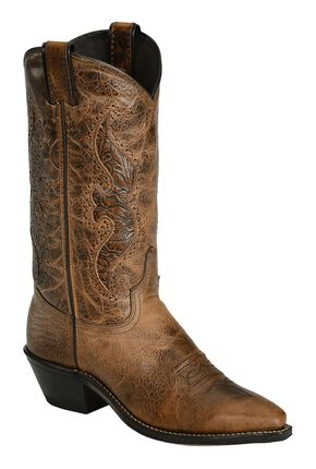 Abilene Brown Hand Tooled Inlay Cowgirl Boots - Snip Toe, Brown, hi-res