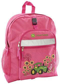 John Deere Girls' Pink Sunflower Trademark Backpack , , hi-res