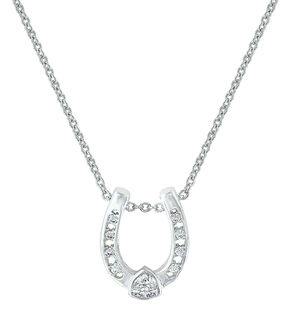 Montana Silversmiths Lucky Trillion Treasure Horseshoe Necklace, Silver, hi-res