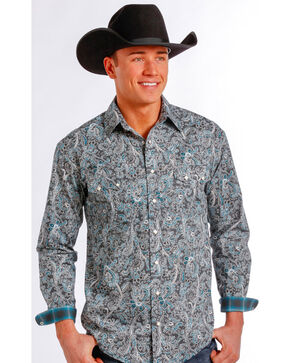 Rough Stock by Panhandle Slim Grey and Green Paisley Western Snap Shirt , Multi, hi-res