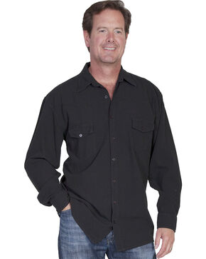 Scully Cantina Western Yoke Shirt, Black, hi-res