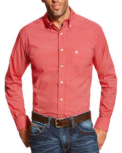 Ariat Men's Red Stoney Printed Long Sleeve Shirt , Red, hi-res