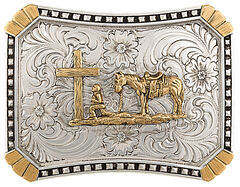 Montana Silversmiths CrossCut Heirloom Christian Cowboy Belt Buckle, , hi-res