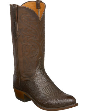 Lucchese Men's Nathan Smooth Ostrich Leather Western Boots - Round Toe, Dark Brown, hi-res